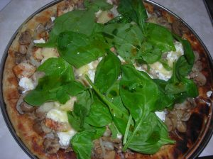 Black and White Pizza with spinach salad 004