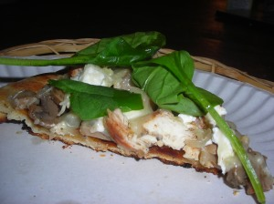 Black and White Pizza with spinach salad 006