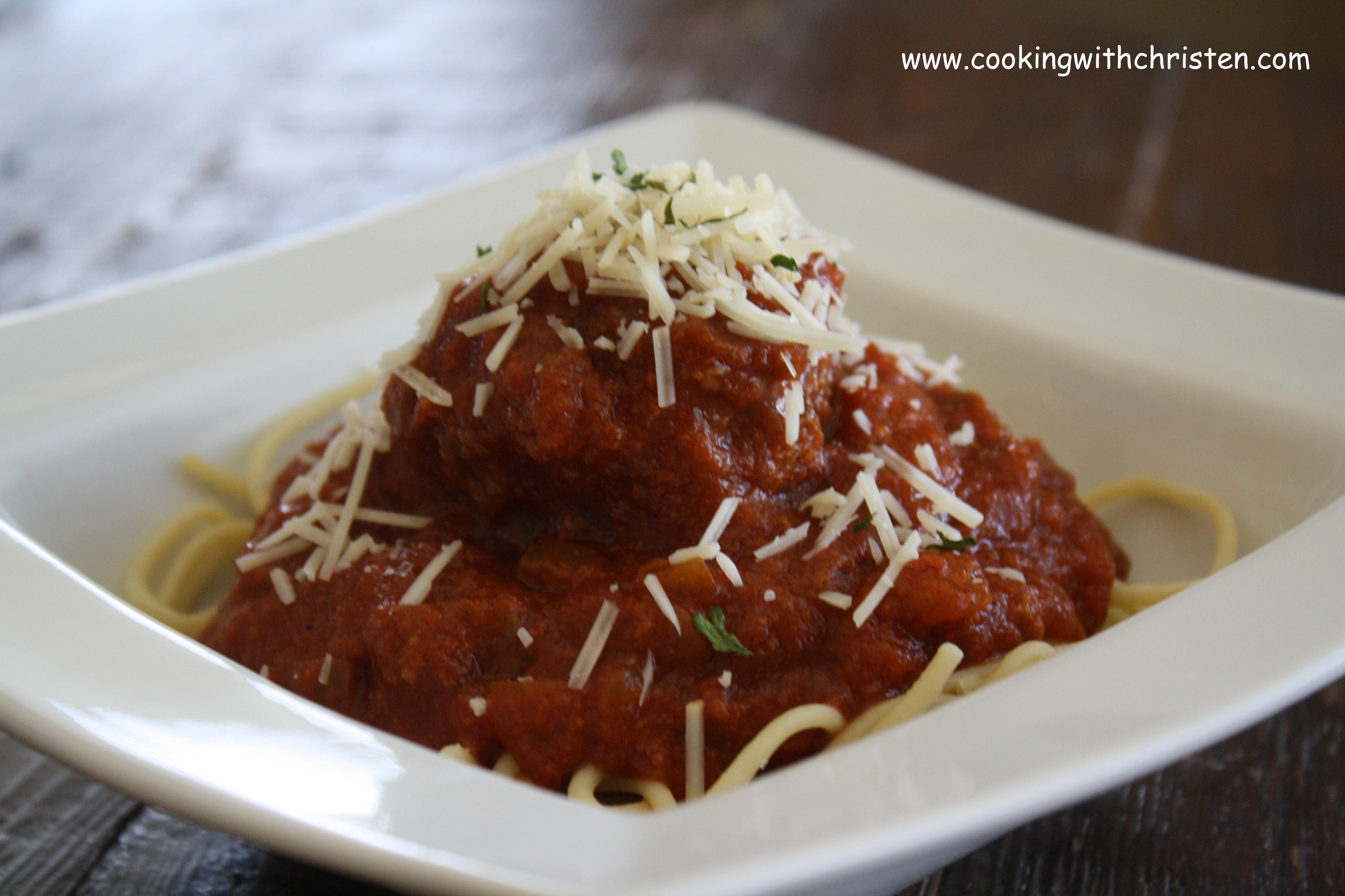 Christen's Spaghetti & Meatballs, Slow-Cooker Style!